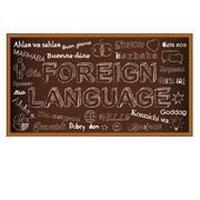 Chalk board doodle with symbols on foreign languages. Vector illustration. - stock illustration