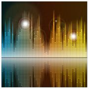 Sound waves and music background. Audio equalizer technology. Vector - stock illustration
