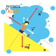 Science for kids. Cartoon kid is studying physics. Vector Illustration - stock illustration