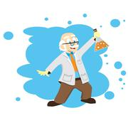 Cartoon scientist with a flask. Vector illustration. Science for kids. Piirros