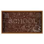 School chalk board. Set of school doodles on brown background. Vector - stock illustration