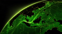 Earth connections. Asia-Europa. Green. More options in my portfolio. - stock footage
