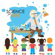 Science for kids. Cartoon scientist shows to kids chemistry experiment in lab - stock illustration
