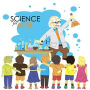 Science for kids. Cartoon scientist shows to kids chemistry experiment in lab Stock Illustration