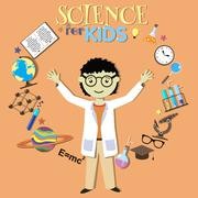 Science for kids. Cartoon scientist, collection of science symbols and design - stock illustration