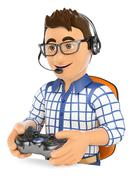 3D Young gamer playing console online game Stock Illustration