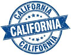California blue round grunge vintage ribbon stamp - stock illustration