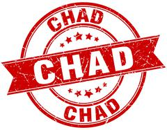 Chad red round grunge vintage ribbon stamp - stock illustration