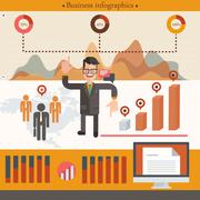 Businessman infographic with cartoon businessman. Vector illustration. - stock illustration