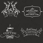 Set of vintage retro coffee logo badges and labels. Vector Illustration - stock illustration