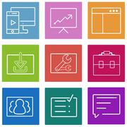 Business flat line icons set. Web and mobile interface design elements. Vector Stock Illustration
