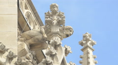 Gargoyles seen on the facade of St. Stephen's Cathedral, Vienna Stock Footage