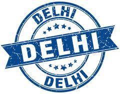 Delhi blue round grunge vintage ribbon stamp Stock Illustration