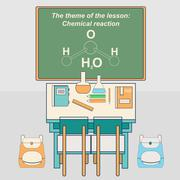 Classroom in school with desk and chalkboard. Chemistry class. Vector Piirros