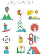 Travel line icons set. Outdoor equipment, camping symbols and design elements Stock Illustration
