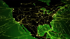 Earth map with bright connections. Europe-USA. 2 shots in 1 file. Green. Stock Footage