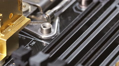 RAM and CPU sockets server mainboard Stock Footage