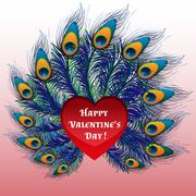 Beautiful Valentines day heart with peacock feathers - stock illustration