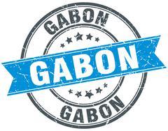 Gabon blue round grunge vintage ribbon stamp - stock illustration