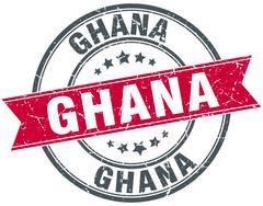 Stock Illustration of Ghana red round grunge vintage ribbon stamp