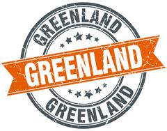 Stock Illustration of Greenland red round grunge vintage ribbon stamp