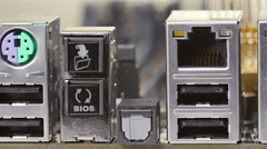 Back plate of server mainboard with different sockets Stock Footage