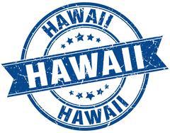 Stock Illustration of Hawaii blue round grunge vintage ribbon stamp
