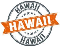 Stock Illustration of Hawaii red round grunge vintage ribbon stamp