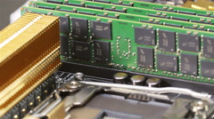Memory modules (RAM) and CPU socket on server main board - stock footage