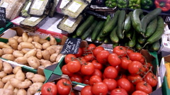 Vegetables in market table, France Stock Footage