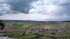 View of Toscana valley, shot from Tarquinia old city - stock footage