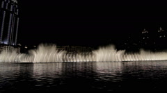DUBAI, UAE - JUNE 2013: Fountain system set on Burj Khalifa Lake at Stock Footage