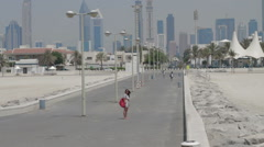 Scenic view of Dubai skyline from beach Stock Footage