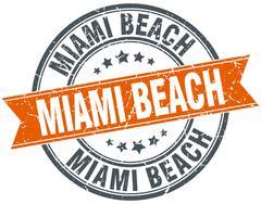 Miami Beach red round grunge vintage ribbon stamp - stock illustration