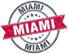 Miami red round grunge vintage ribbon stamp - stock illustration