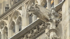 Gargoyle on the gothic facade of St. Stephen's Cathedral, Vienna - stock footage