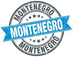 Stock Illustration of Montenegro blue round grunge vintage ribbon stamp