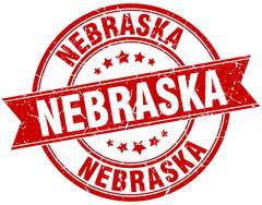 Nebraska red round grunge vintage ribbon stamp - stock illustration