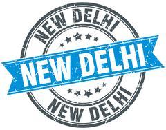 New Delhi blue round grunge vintage ribbon stamp - stock illustration