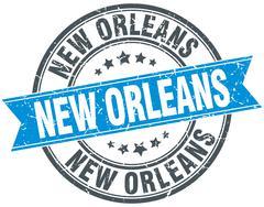 New Orleans blue round grunge vintage ribbon stamp Stock Illustration