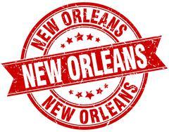 New Orleans red round grunge vintage ribbon stamp Stock Illustration