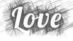 Word Love on abstract hatched monochrome background Stock Footage