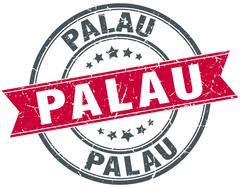 Palau red round grunge vintage ribbon stamp Stock Illustration