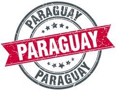 Paraguay red round grunge vintage ribbon stamp Stock Illustration