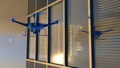 UAV drone looking through window as figure looks on, 3D animation Stock Footage