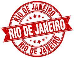 Rio De Janeiro red round grunge vintage ribbon stamp - stock illustration