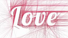 Love on abstract red hatched background - stock footage