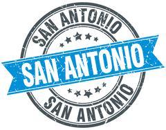 San Antonio blue round grunge vintage ribbon stamp - stock illustration