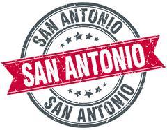 San Antonio red round grunge vintage ribbon stamp - stock illustration
