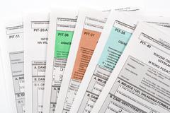Polish tax return dokuments Stock Photos